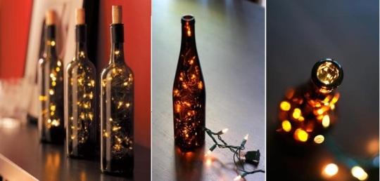 botella luces navidad