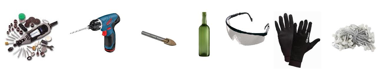 Material para hacer una lampara con una botella mediafer - Como hacer lamparas con botellas de vidrio ...