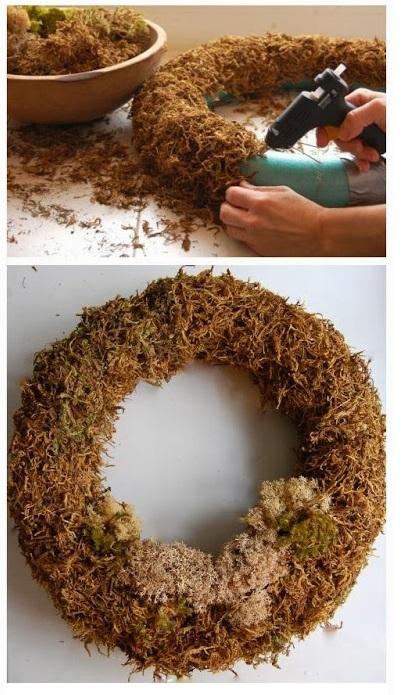 como hacer una corona con musgo