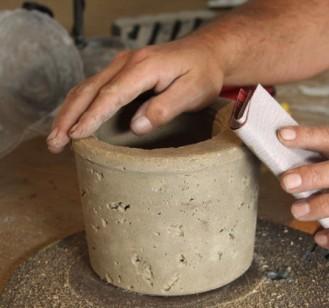 lijado maceta cemento