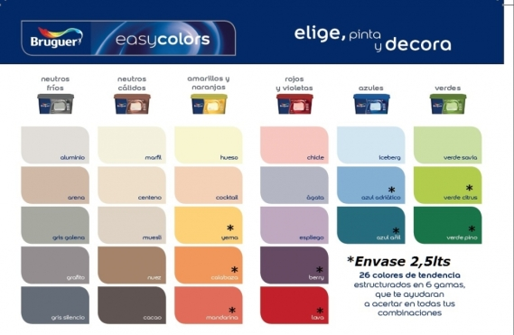 Easy colors nueva gama de colores de bruguer elige for Gama de colores pintura pared